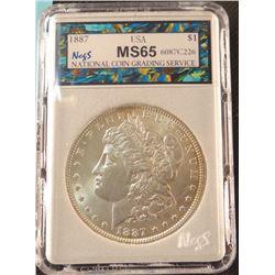 1887 P Morgan dollar, MS 65, NCGS