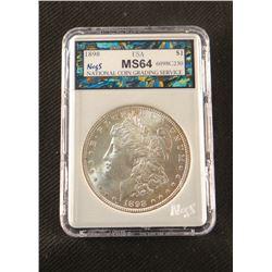1898 P Morgan dollar, MS 64, NCGS