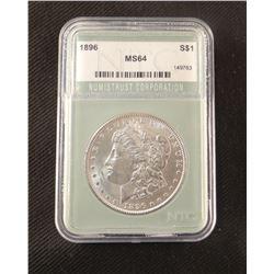 1896 P Morgan dollar, MS 64, NCGS