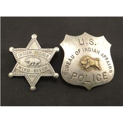 """2 badges: U. S. BIA Police and Indian Police, Wind River, Wyo., 2"""" each"""