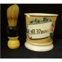 C. M. Russell personal shaving mug/brush. Purchased from the Boyd Jensen collection, in the late 196