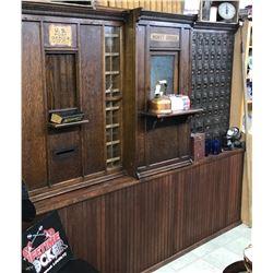 Collins, MT oak post office cabinet, 2 clerk windows, 70 + mail boxes, all original. Collins, an ear