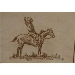 """Powell, Ace, framed etching, Indian on horse, 61/100, 5""""x 7"""""""