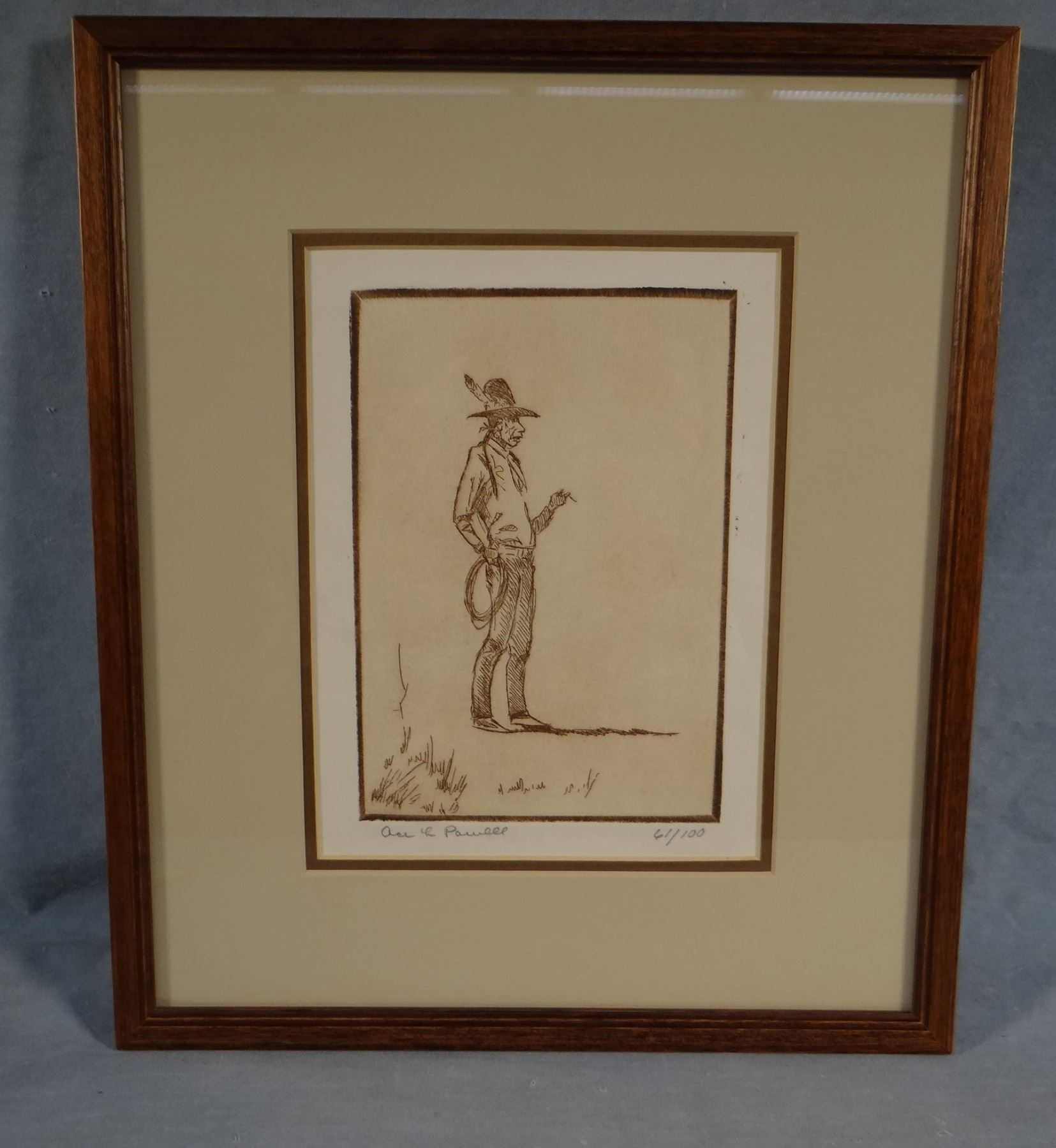 "Powell, Ace, framed etching, Indian cowboy w/lasso, 61/100, 5""x 7"""