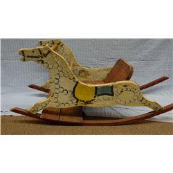 "Child's vintage rocking horse, 42"" long, 14"" w"