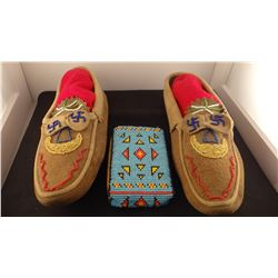 Beaded moccasins and cigarette pack carrier, newer
