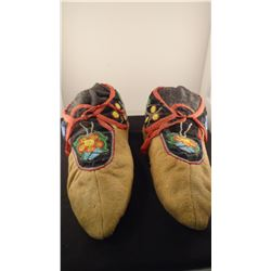 Beaded Woodlands Tribe moccasins, 1900's