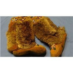Woodland Tribe beaded mukluks, rabbit fur trim, newer