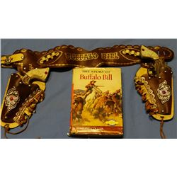 Buffalo Bill Cody child's gun and holster set and the Story of Buffalo Bill book by Edmund Collier w