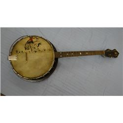 Banjo with original vintage painting, cased