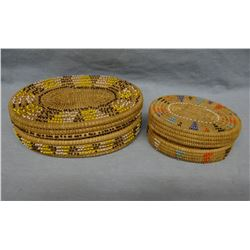 """2 woven baskets, beaded, 5"""" and 7"""""""