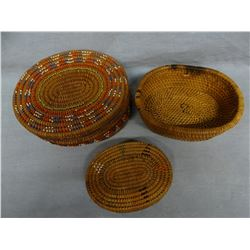 """3 woven baskets, 3 beaded, 4"""", 6"""" and 7"""""""