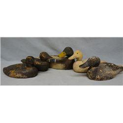 5 vintage wooden duck decoys