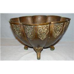 "Brass heavy planter, 10"" h x 15"" w, Oriental mark on bottom, gargoyles on feet"