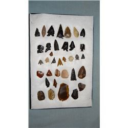 Columbia River gem points, scrapers, found near Vantage, Washington in the 1950's, 35 pcs.
