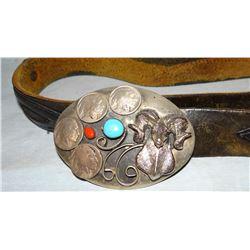 Turqouise and buffalo nickel belt buckle w/belt