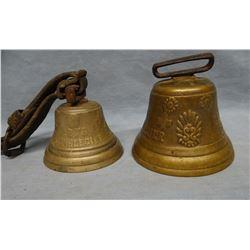 2 brass Swiss cow bells