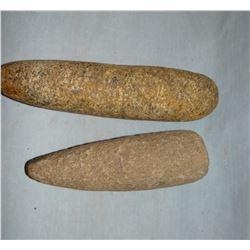 "Buffalo skull found near Miles City; Bone 11"" hide scraper; 2 stone grinders"