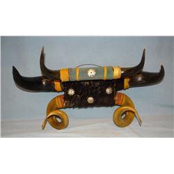 Buffalo/Rambouillet ram's horn hat rack