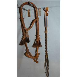 Braided hackamore & quirt; Studded headstall & reins; Braided cord headstall & reains, chromed gal l