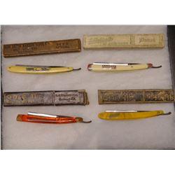 4 straight edge razors w/cases, in riker case