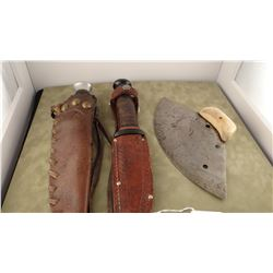 2 hunting knives and hide scrapper w/bone handle; Hunting knife w/newer beaded sheath