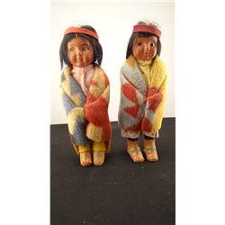 """5 Skookum 3-7"""" dolls, rolling log on tag"""