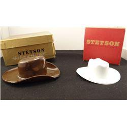 2 Miniature Stetson hats, w/ orig. boxes, Stetson match book