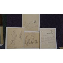 """4 Will James original drawings, all 8"""" x 10"""", all unsigned"""