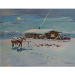 """Clarence Cuts The Rope, Christmas Visit, original oil, 1978, 22"""" x 28"""", framed"""