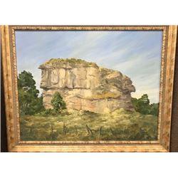 "Haughey, Bruce original oil on canvas, Pompey's Pillar, 22"" x 28"", framed"