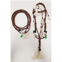 Prison-Made Hitched Horsehair Bridle, round hitch, 8' rein set