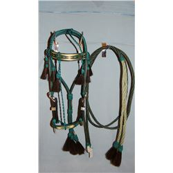 Prison-Made Hitched Horsehair Bridle, 8' reins, rhinestone buckle set, fully adjustable, very nice!