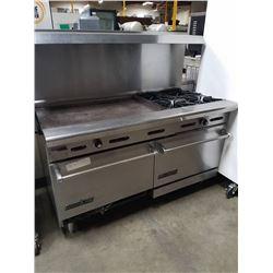"""American Range 4 Burner Range w36"""" Griddle & 2 Ovens Below"""