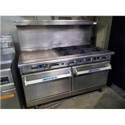 """Imperial 6 Burner Range w/36"""" Griddle & 2 Convection Ovens Below"""