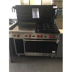 "Wolf 4 Burner Range w/24"" Griddle, Oven & Storage"