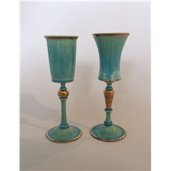 Wyatt Amend, Pair of Aqua Goblets