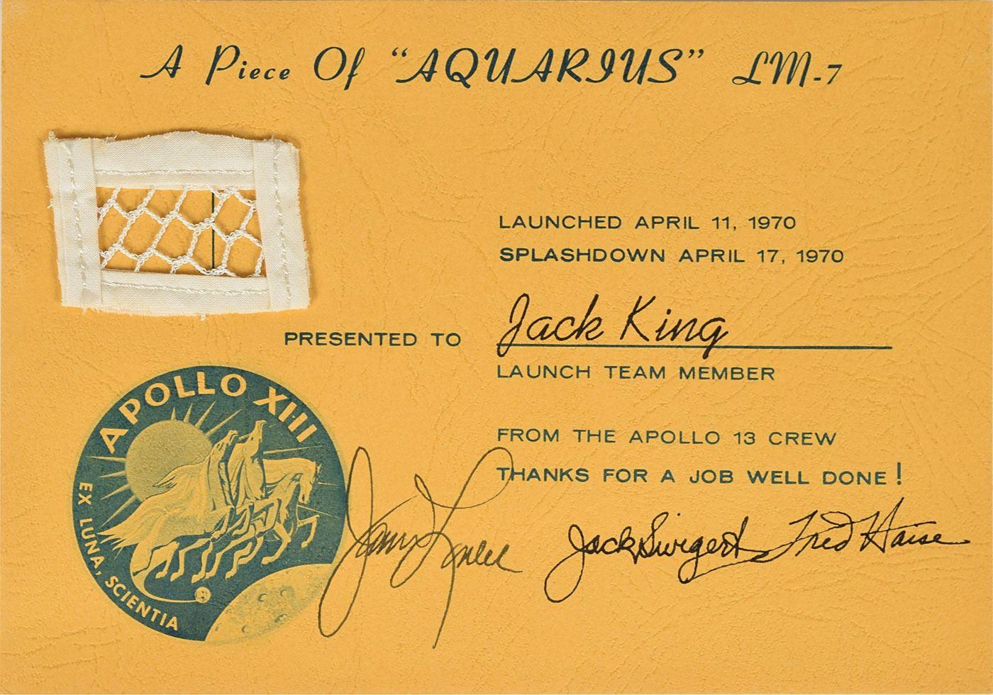 Apollo 13 Crew-Signed Flown Lunar Module Netting