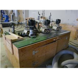 ADJUSTABLE ROUTER TABLE WITH PORTER CABLE 7516 ROUTER, INVERTED ROUTER, 3 1HP 3 ROLL POWER FEEDERS