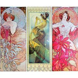 3 Large Mucha Repro Antique Poster Art Prints 48X18 Each Dealer Sale