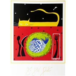 1998 See Food Platter Hubbard Abstract Pop Whimsical Food Related Print