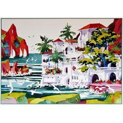 Ken Hawk Hand Signed Villa On Bird Rock Colorful Tropical