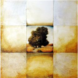 Abstract Landscape Geometric Earth Tone 1998 Printed In Spain