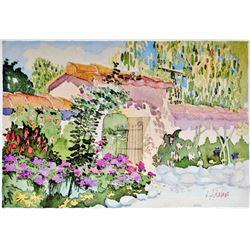 Linda Adams Kessler Plate Signed Garden Scene Carmel 1988