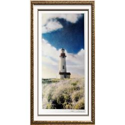 Hand Signed Arches Paper Litho Thea Schrack Yaquina Head Lighthouse Realism Colored Print