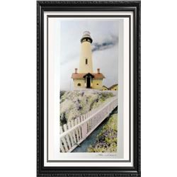 Hand Signed Arches Paper Litho Thea Schrack Pigeon Point Lighthouse Realism Colored Print