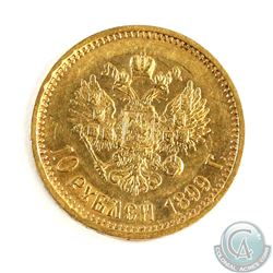 Russia; 1899 Gold 10 Roubles. Coin has a weight of 8.60 grams and contains 0.2489 oz. of Pure Gold.