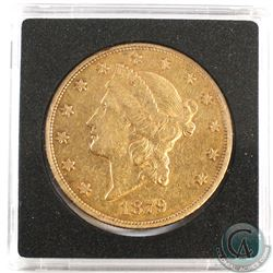 USA; 1879 $20 Double Eagle Gold Coin. Coin weighs 33.43 grams and contains 0.9677 oz. of Pure Gold.
