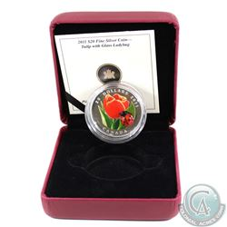 2011 Canada $20 Tulip with Venetian Glass Ladybug Fine Silver Coin (Tax Exempt). Coin comes with dis