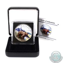 2011 Canada $5 Wildlife Series Grizzly 1oz Fine Silver Colourized Coin in Special Display Box & COA